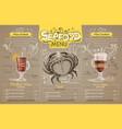 vintage seafood menu design on cardboard vector image