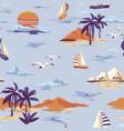 vintage seamless island pattern landscape vector image