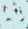 winter seamless pattern with skating people vector image