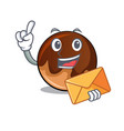 with envelope chocolate donut character cartoon vector image