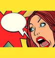 woman screams fear and emotions vector image