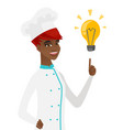young african-american chef pointing at lightbulb vector image vector image
