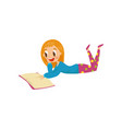 young woman lying on the floor and reading a book vector image vector image