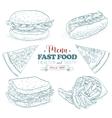 Scetch fast food menu vector image