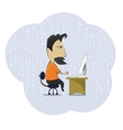 Middle age work addict geek sitting at the vector image