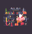 santa claus and elves pack gifts vector image