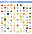100 garden icons set flat style