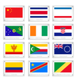A Set of National Flags on Metal Texture Plates vector image