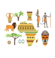 Africa symbols and travel set vector image vector image