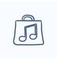 Bag with music note sketch icon vector image vector image
