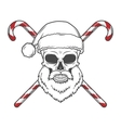Bearded Skull Santa Claus with candy canes poster vector image vector image