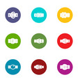 belt icons set flat style vector image vector image