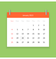Calendar page for January 2015 vector image vector image