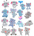 cartoon elephants collection with different action vector image vector image