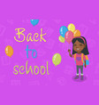 caucasian schoolgirl with the bunch of balloons vector image vector image