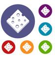cheese fresh block icons set vector image