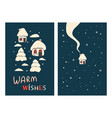 christmas greeting cards with houses vector image
