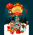 christmas holiday night party invitation poster vector image vector image