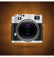 Classic camera icon on brown background vector image vector image