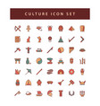 culture icon set with filled outline style design vector image