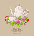 cup of dog rose tea and teapot vector image vector image