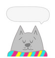 cute cat speech bubble hand drawn vector image