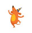 cute dog in party hat having fun funny cartoon vector image vector image