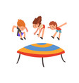 cute happy boys and girl jumping on trampoline vector image vector image