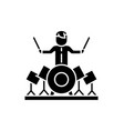 drummer black icon sign on isolated vector image
