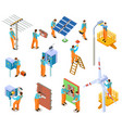 electrician isometric set workers doing safety vector image