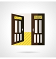 Flat brown open door icon vector image vector image