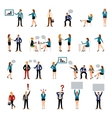 Flat style business people figures icons vector image vector image