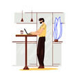 freelance man work in comfortable cozy home office vector image vector image