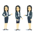 Funny businesswoman cartoon character in different vector image
