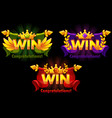 golden win versions isolated logo win with vector image vector image