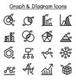 graph data diagram icon set in thin line style vector image vector image