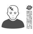 Head Hurt Icon With Tools Bonus vector image