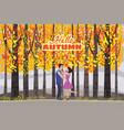 hello autumn color happy couple vector image vector image