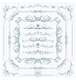 Ink hand-drawn line border set vector image vector image