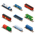 isometric set of railway trains vector image