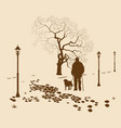 Loneliness a walk in the park man with a dog vector image vector image
