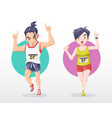 man and woman marathoner do number one sign with vector image vector image