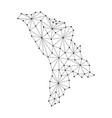 moldova map of polygonal mosaic lines network vector image vector image