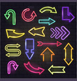 neon arrow glowing arrows and illuminated vector image vector image