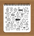 notebook design birdhouses sketch vector image vector image