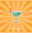 party night margarita decorated by cherry cocktail vector image