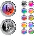 Pixel arrow multicolor round button vector image vector image