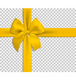 realistic yellow bow and ribbon isolated on vector image