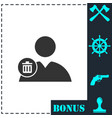 remove contact icon flat vector image vector image