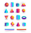set 3d geometric shapes and editable strokes vector image vector image